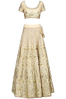 Off White Dabka Embroidered Lehenga Set by Esha Koul