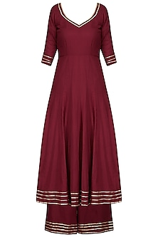 Maroon Embroidered Anarkali with Palazzo Pants