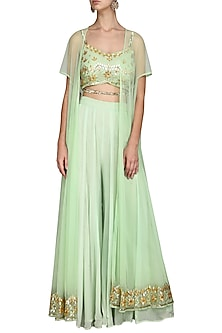 Mint Green Cape with Crop Top and Palazzo Pants by Esha Koul