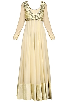 Ivory Hand Embroidered Anarkali with Jacket