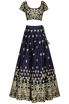 Dark Blue Embellished Lehenga Set