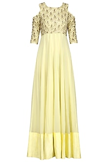Lime Green Anarkali Gown