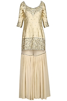 Off White Embroidered Sharara Set