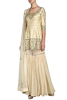 Off White Embroidered Sharara Set by Esha Koul