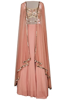 Old Rose Embroidered Cape with Crop Top and Lehenga Skirt by Esha Koul