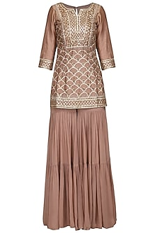 Champagne Gold Embellished Sharara Set