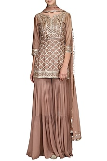 Champagne Gold Embellished Sharara Set by Esha Koul