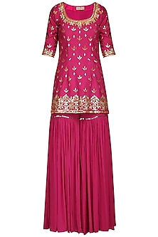Pink Embroidered Sharara Set by Esha Koul