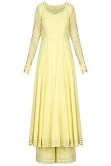 Light Yellow Gota Embroidered Anarkali Set