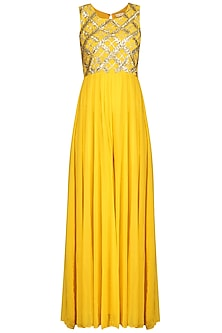 Yellow Gota Embroidered Jumpsuit by Esha Koul