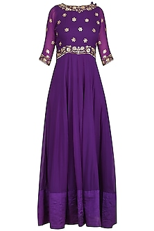 Purple Embroidered Anarkali Gown