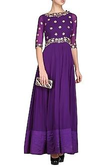 Purple Embroidered Anarkali Gown by Esha Koul