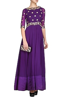 Purple Embroidered Anarkali Gown by Esha Koul