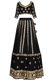 Black Sequin And Gota Embroidered Lehenga Set
