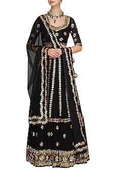 Black Sequin And Gota Embroidered Lehenga Set by Esha Koul