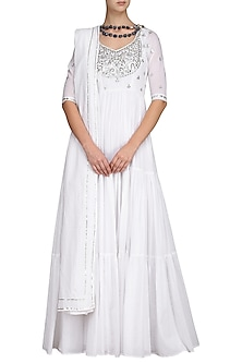 White Embroidered Anarkali Gown by Esha Koul