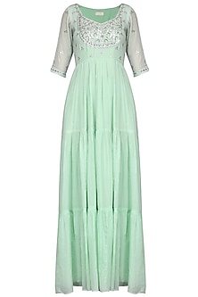 Mint Green Embroidered Anarkali Gown by Esha Koul