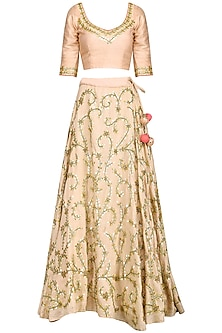 Blush Pink Gota Embroidered Lehenga Set