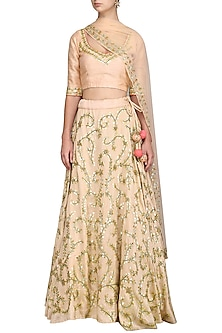 Blush Pink Gota Embroidered Lehenga Set by Esha Koul