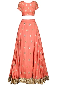 Coral Gota Patti Embroidered Lehenga Set