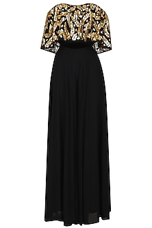 Black Embroidered Off Shoulder Blouse With Palazzo Pants