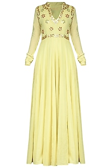 Light Yellow Embroidred Anarkali Gown