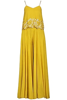 Mustard Embroidered Top With Palazzo Pants by Esha Koul