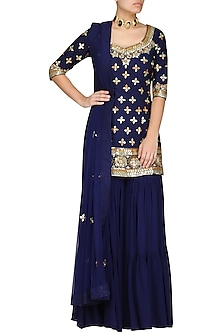 Dark Blue Embroidered Sharara Set by Esha Koul