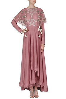Dark Muave Embroidered Anarkali with Palazzo Pants by Ek Soot
