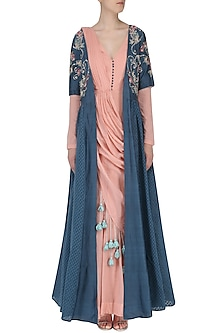 Peach Anarkali and Dusky Blue Jacket Set by Ek Soot