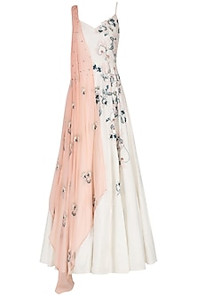 Off White Embroidered Draped Anarkali