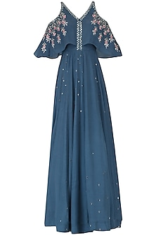 Dusky Blue Embroidered Anarkali Gown by Ek Soot