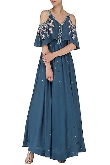Dusky Blue Embroidered Anarkali Gown by Ek Soot