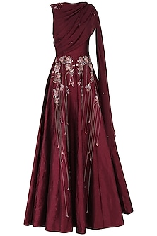 Burgundy Embroidered Anarkali Gown