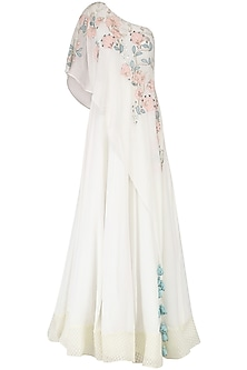 Off White Embroidered Anarkali Gown