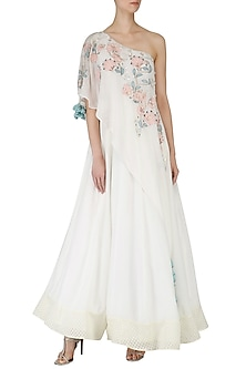 Off White Embroidered Anarkali Gown by Ek Soot
