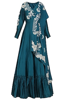 Teal Embroidered Anarkali Gown