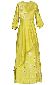 Lime Embroidered Anarkali Gown by Ek Soot