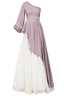 Lavender Embroidered Asymmetrical Peplum Top with Ivory Lehenga Skirt