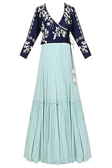 Aqua Blue Tiered Anarkali with Embroidered Jacket