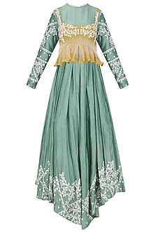 Sage Green Embroidered Anarkali with Mustard Peplum Top by Ek Soot