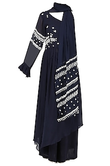 Navy Blue Embroidered Asymmetrical Kurta with Palazzo Pants