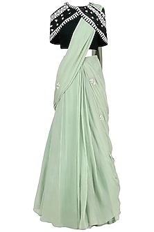 Pista Green Embroidered Lehenga Saree with Blouse
