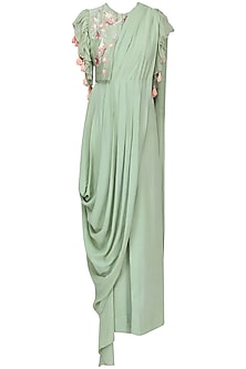 Pista Green Drape Saree with Embroidered Jacket