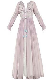 White Tiered Anarkali with Embroidered Lavender Jacket by Ek Soot