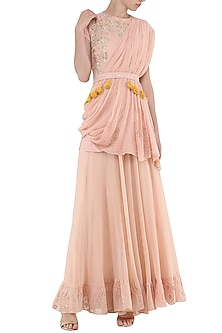 Peach Embroidered Kurta with Sharara Pants Set by Ek Soot