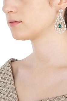 Silver Swarovski Crystal and Green Zircon Earrings