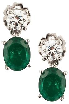 Silver Swarovski and Green Zircon Drop Earrings by Essense