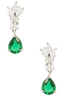 Silver Swarovski Crystal and Green Zircon Drop Earrings by Essense