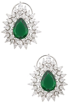 Silver Swarovski Crystal and Green Zircon Stud Earrings by Essense